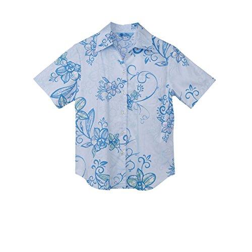 集中的な電子レンジ改善MAJUN (マジュン) かりゆしウェア アロハシャツ かりゆし 結婚式 レディース スキッパー シルエットオーキッド ブルー L