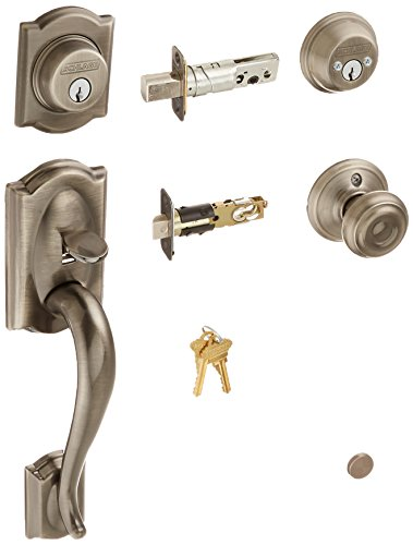 Schlage F62CAM620GEO Camelot Handleset Keyed 2-Sides with Georgian Knob, Antique Pewter