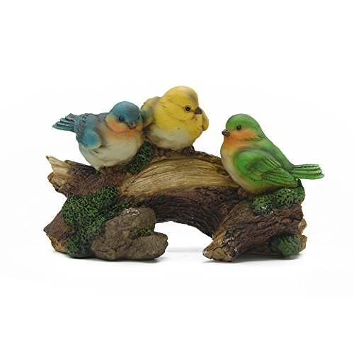 Animal Ceramic Statue (Maggift Birds Garden Statue Birds on a Log Garden Figurine, Multicolored (3 birds))