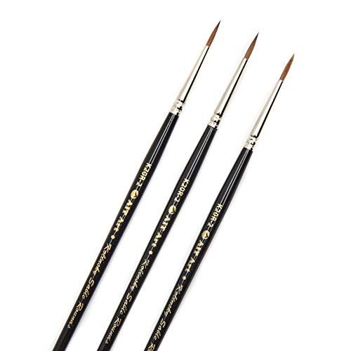 AIT Art Premium Round Detail Kolinsky Paint Brushes, Size 2, Pack of 3, Pure Russian Red Sable, Handmade in USA for Crafting Exquisite Details Using Oil, Acrylic, or - Red Sable Water