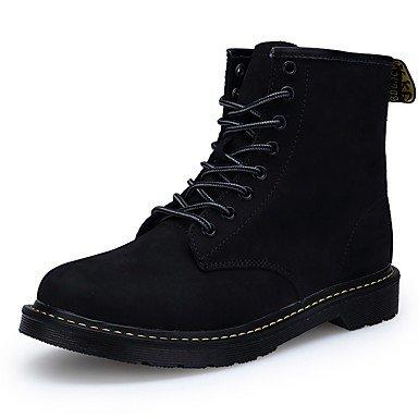 RTRY Zapatos De Mujer Cuero De Nubuck Pu Otoño Invierno Confort Botas De Montar Botas De Moda Botas Botas De Combate Talón Plano Cerrado Toe Botas Mid-Calf Negro Us8 / Ue39 / Uk6 / Cn39 US7.5 / EU38 / UK5.5 / CN38