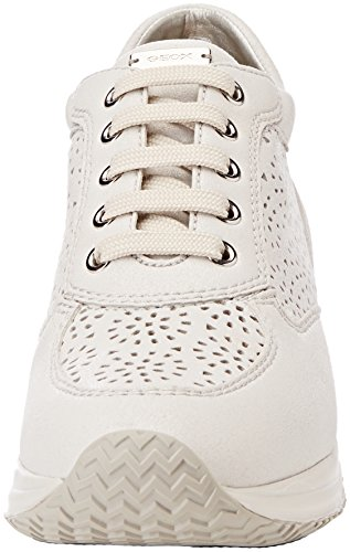 Geox D Happy A, Sneakers Basses Femme Blanc (White)