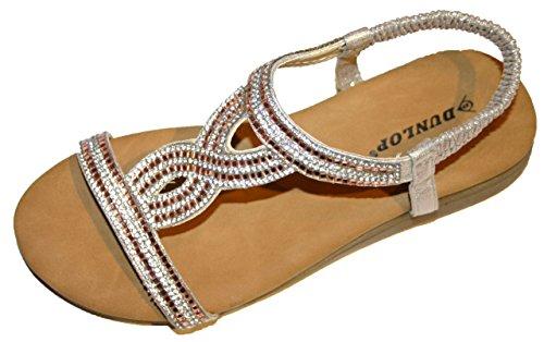 Brookland Shoes Dunlop Women's Sparkling Elasticated Strap Pool Beach Shoe Sandal Sizes 3-8 Rose / Gold x5b7PR
