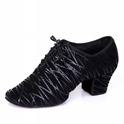 BYLE Sandalias de Cuero Tobillo Modern Jazz Samba Zapatos de Cuero Cuadrado Zapato de Baile Baile Latino 40