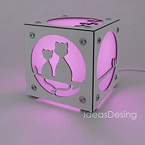 Cubo de Luz Gatos, Color Blanco glaciar, LED RGB con mando a distancia.: Amazon.es: Iluminación