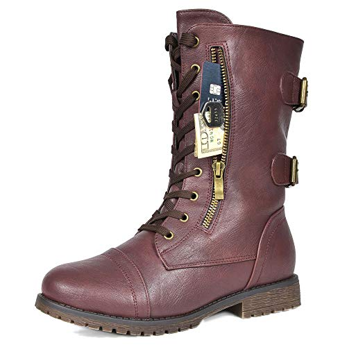 - DREAM PAIRS Women's Terran Snow Burgundy Faux Fur Lined Mid Calf Riding Combat Boots Size 7.5 M US