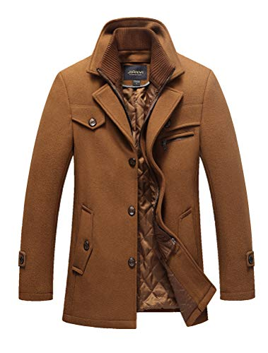 Mordenmiss Men's Quilted Wool Coat Slim Fit Single Breasted Thick Walker Coat Romveable Collar S Camel