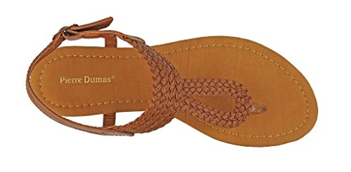 Women's Leather Braided Lydia Tan Ankle 4 New Adjustable Pierre Dumas Vegan Sandals Strap Thong Flats 5YpwAZ