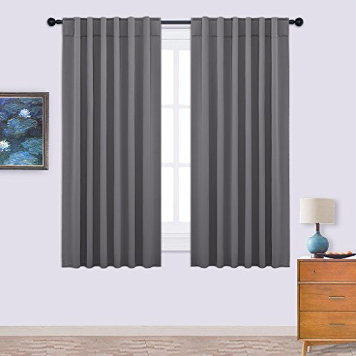 Nicetown Back Tab / Rod Pocket Solid Blackout W52 x L63-Inches Curtain Drape 2 Panels Set with 7 Back Loops per Panel, Grey