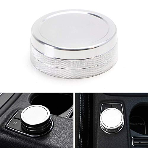 iJDMTOY (1) Silver Anodized Aluminum Center Console Command Control Knob Wheel Cover For Mercedes A B C E S CLA GLA GLK ML GL Class