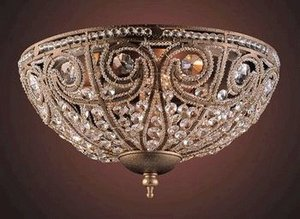 Elizabethan Crystal - Elk Elizabethan 3-Light Flush-Mount Ceiling Fixture, Dark Bronze