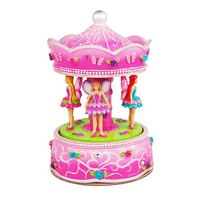 Fairyland Pink 6.5 x 4.5 Inch Resin Rotating Musical Carousel Plays Beautiful Dreamer