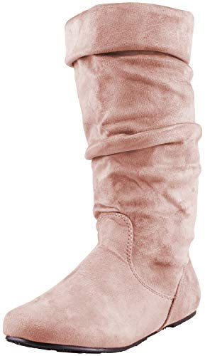 (Enimay Women's Winter Fashion High Mid Calf Slouchy Casual Dress Flat Boot Taupe Size 10)