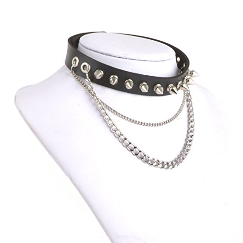 [HZMAN Fashion Women Men Cool Punk Goth Metal Spike Studded Link Leather Collar Choker Necklace] (Jail Costume For Kids)