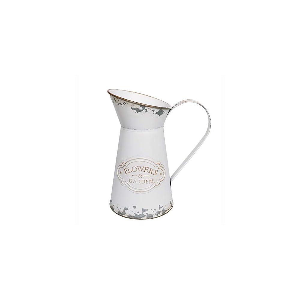 APSOONSELL Rustic Shabby Chic Vase Small Metal Vase Vintage Milk Jug Mini Pitcher Decorative Flower Vase Farmhouse Decor…