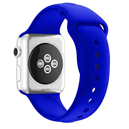 New Apple Watch Band, Chumei Soft Silicone Sporty Replacement Wristband Bracelet Strap Band iWatch Series 1 Series 2 Series 3 Sports Edition (42MM M/L Royal Blue) (Royal Series Blue)
