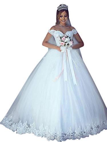 XJLY Women's Romantic Off The Shoulder Lace Applique Bridal Wedding Dresses Ball Gown White ()