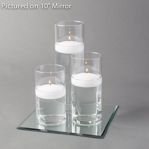 "Eastland Square Mirror and Cylinder Vases Centerpiece with Richland Floating Candles 3"". 48 Piece Set (12"" Mirror, White)"