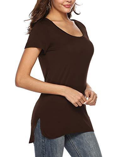 (Florboom Womens Cute Split Tee Shirts Cotton Scoop Neck Long Tshirts Brown S )