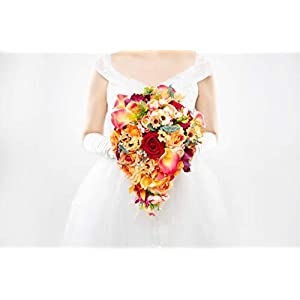 Abbie Home Cascading Bridal Bouquet - Red Rose Champagne Orange Gradient Calla Lily Bride Flowers for Garden Wedding (A Cascading Bouquet) 6