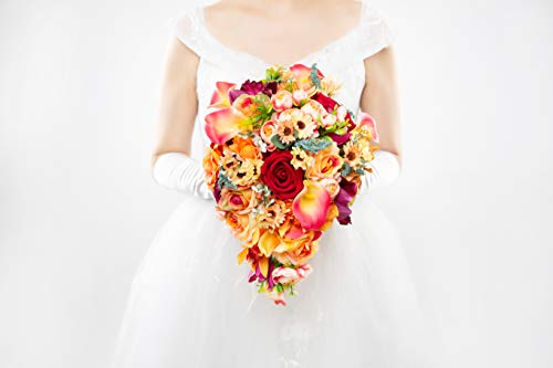 (Abbie Home Cascading Bridal Bouquet - Red Rose Champagne Orange Gradient Calla Lily Bride Flowers for Garden Wedding (A Cascading Bouquet))