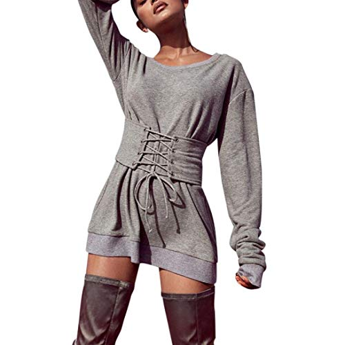 URIBAKE Womens Solid Long Sleeve O-Neck Bandage Causal Ladies' Blouses Tops Shirts Tee Top Gray