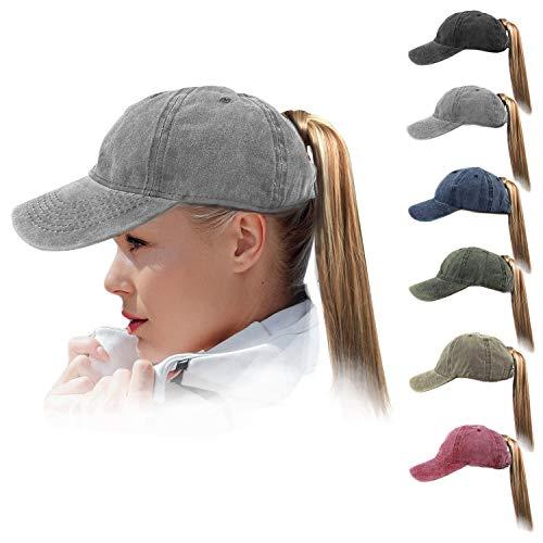 (HH HOFNEN Women Ponytail Hat Washed Twill Cotton Baseball Cap Vintage Adjustable Dad Hat (#03 Grey High Pony Tail))