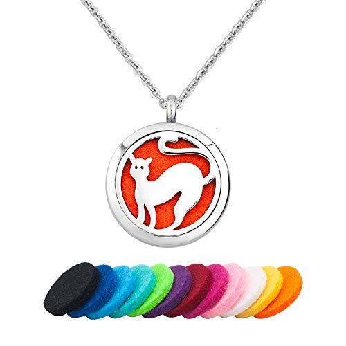 LoEnMe Jewelry Cute Cat Pet Kitty Animal Essential Oil Necklace Locket Pendant Aromatherapy Diffuser Women Girl Men
