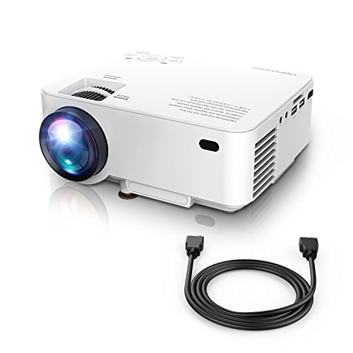 "Mini Projector, 50% Brighter LED Movie Projector with 176"" Display and US PREAD Lamp Solution, Video Projector for Multimedia Home Theater, Supports 1080P (white)"