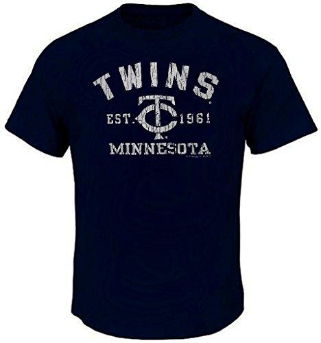Majestic Minnesota Twins - Majestic Minnesota Twins MLB Mens Est. 1961 Shirt Navy Blue Big Sizes (3XL)