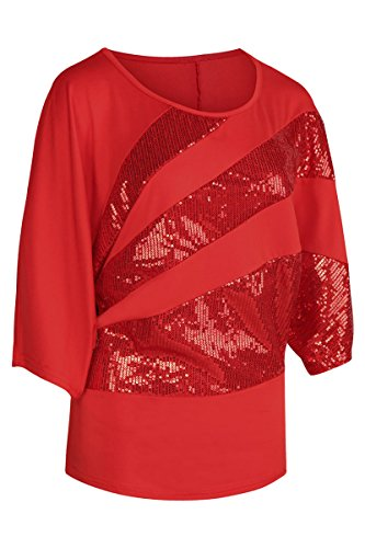 YMING Women's Comfy Sexy Blouse Sequin Tops Casual Shirt Red XL - Red Glitter Top