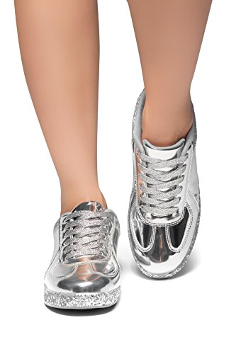 Herstyle Women's City Glitzy - Glitter Sneaker with Lace Upper Silver 6.5 Upper Flat Shoes