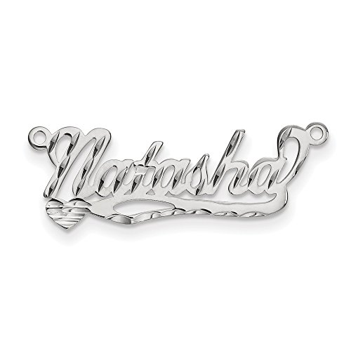Gold Polished Nameplate - Jewels By Lux 14K .013 Gauge White Gold Polished Diamond-cut Name Plate