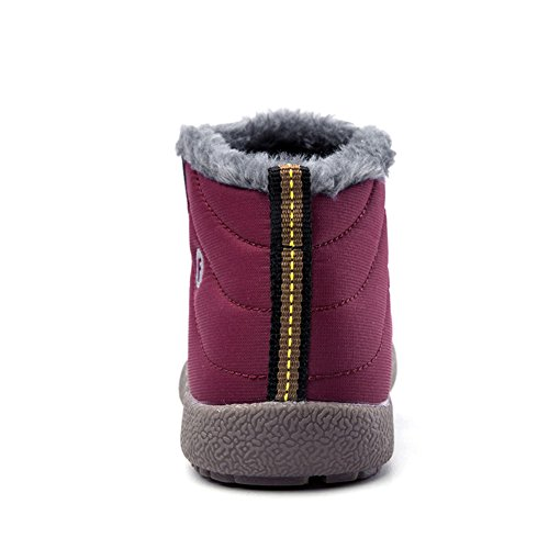 Z.SUO Girl Boy Unisex-Child Snow Boots Winter Anti-Slip Ankle Booties Outdoor Slippers Slip On with Warm Fully Fur Lined (Little Kid/Big Kid (12-12.5 M US Little Kid, Rose Red) by Z.SUO (Image #4)