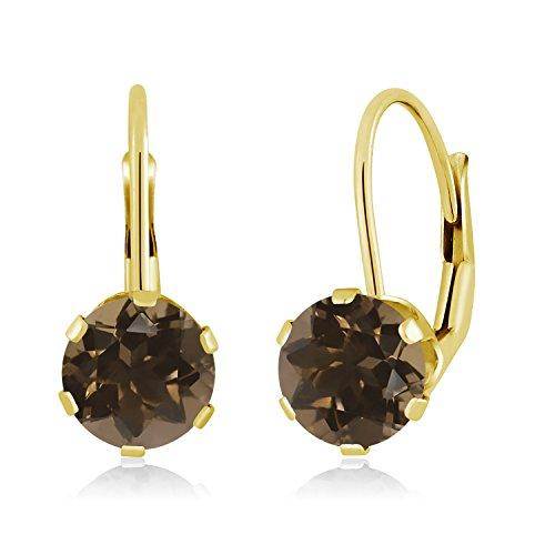 Gem Stone King 1.60 Ct Round Brown Smoky Quartz 14K Yellow Gold Earrings