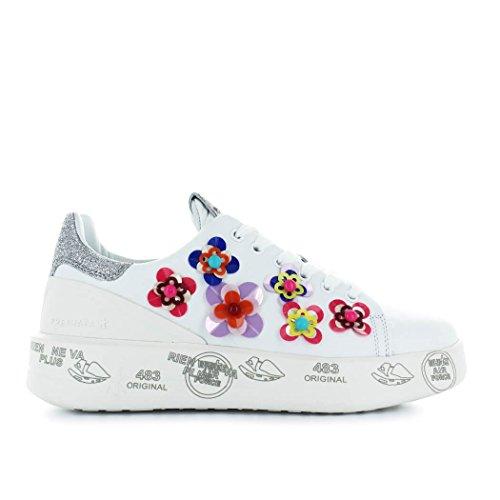 PREMIATA Zapatos de Mujer Zapatilla Belle 3008 Blanca con Flores Primavera Verano 2018