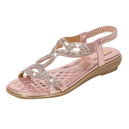 Women's Bohemia Sandals Summer Crystal Peep Toe Beach T-Strap Flat Sandals Comfort Casual Shoes Pink