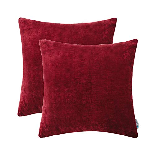 Christmas Decorative Throw Pillows Covers Set Cushion Case for Couch Sofa Bed Living Room 20 x 20 Inches Wine Red Burgundy Comfortable Soild Decor Pack of 2 ()