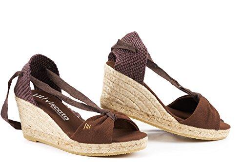 Viscata Tossa di - Espadrilles classiche con zeppa di Tossa 6,3 cm, allacciatura morbida alla caviglia, open toe, fatte in Spagna Brown 9c414d