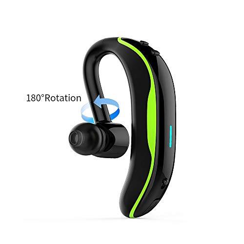 SZBMEI Bluetooth V4.1 Single Ear Wireless Earphone 180 Degree Rotation Sport Wirless Waterproof Earphone Calling Vibration Function (Green) by SZBMEI