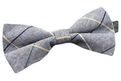 - Flairs New York Flannel and Tweed Collection Bow Tie (Blue Chambray/Stripes)