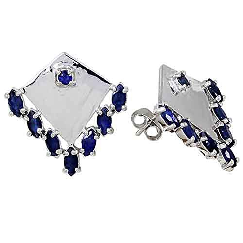 3 Ct Blue Marquise Sapphire 925 Sterling Silver Earring For Women: Nickel Free Beautiful And Stylish Anniversary Gift For Wife (Sapphire Tuxedo)