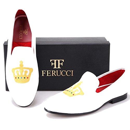 Mocassini In Felpa Di Velluto Bianco Da Uomo Ferucci Con Corona In Oro
