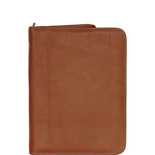 Piel Leather Zippered Padfolio, Saddle, One Size