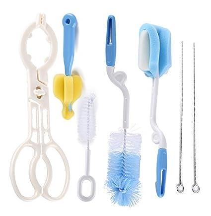 Syga Baby Milk Bottle Nipple Straw Brush Sponge Nylon Cleaning Brush Cleaner Bottle Tong Set (7 Pieces)