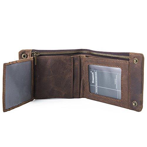Stepack Men's Genuine Crazy Horse Leather Wallet Vintage Bifold Card Holder Hasp Pocket