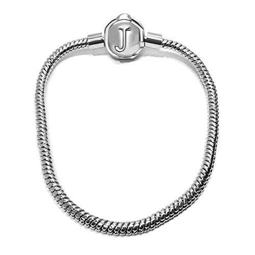 JMQJewelry Women Snake Cable Christmas Bracelet with Lobster Clasp For European Bead Charms Cable Buckle Bracelet