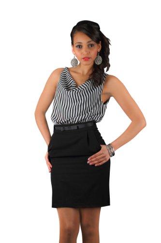 5489 Robe courte en matière stretch pour femme party robe disponible en 4 tailles noir/blanc