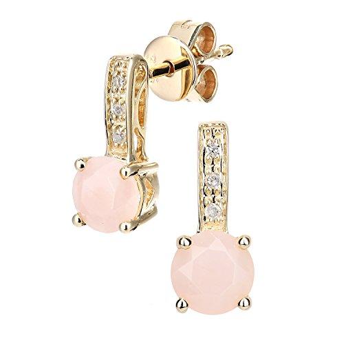 Revoni Bague en or jaune 9carats avec diamant et Opale rose coupe ronde-Boucles d'Oreilles Pendantes Femme -