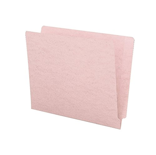 Smead Colored End Tab File Folder, Shelf-Master Reinforced Straight-Cut Tab, Letter Size, Pink, 100 per Box (25610)